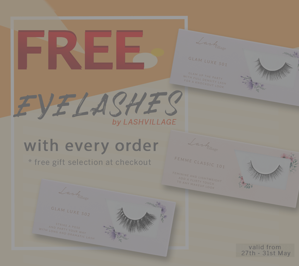 Free eyelashes with every purchase at LensVillage