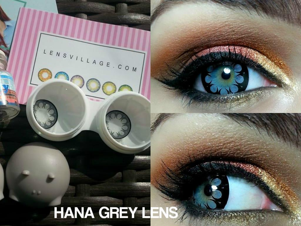 Buy Hana Grey Flower pattern contact lens online