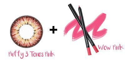 Puffy 3 Tones Pink Lens + 3CE Eyeliner - WOW PINK