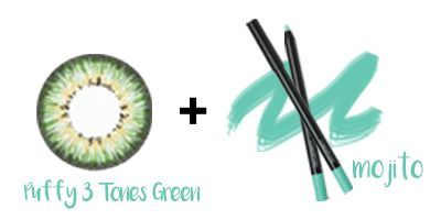 Puffy 3 Tones Green Lens + 3CE Eyeliner - MOJITO