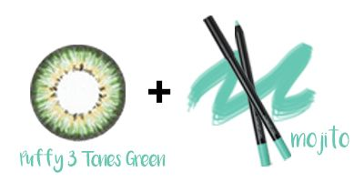 Puffy 3 Tones Green with eye makeup