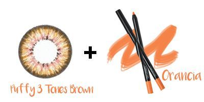 Puffy 3 Tones Brown Lens + 3CE Eyeliner - ORANCIA